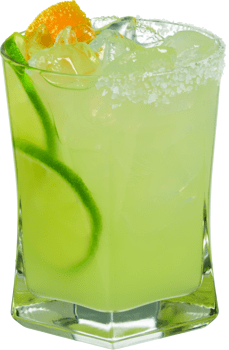 Best margarita recipe in a glass with limes.