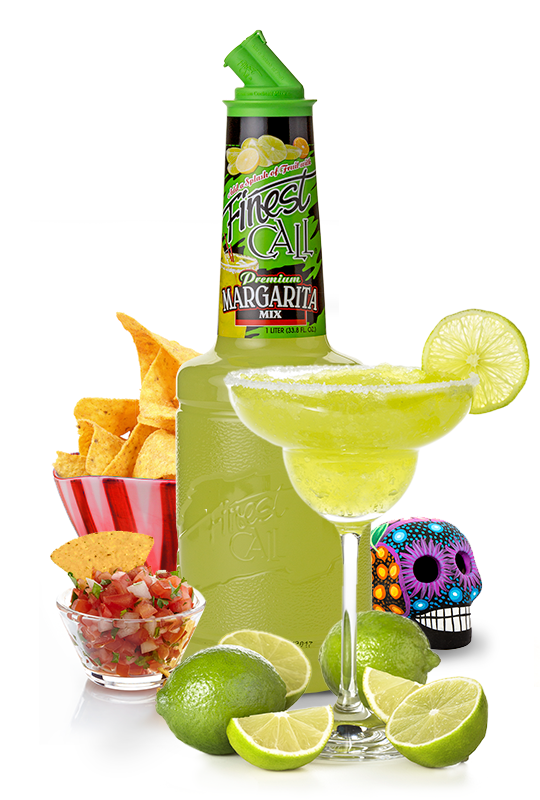 A margarita mix for mixed drinks surrounded by chips and limes.