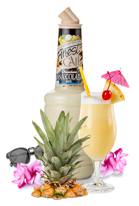 A Piña Colada Mix for mixed drinks surrounded by tropical items.