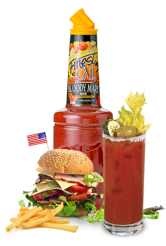 A bloody mary mix for mixed drinks surrounded by a hamburger and bloody mary.
